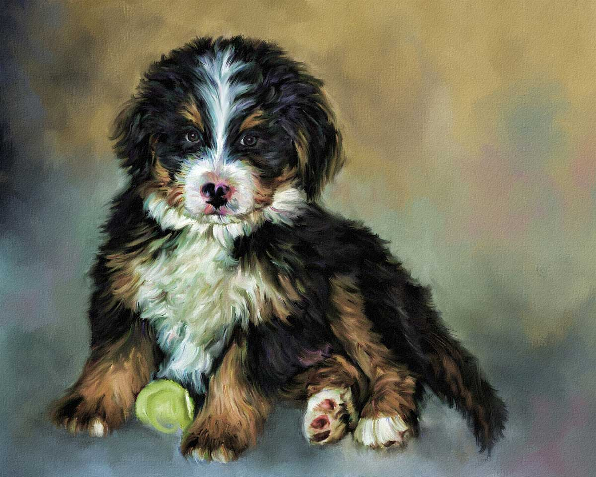 dog painting of baxter