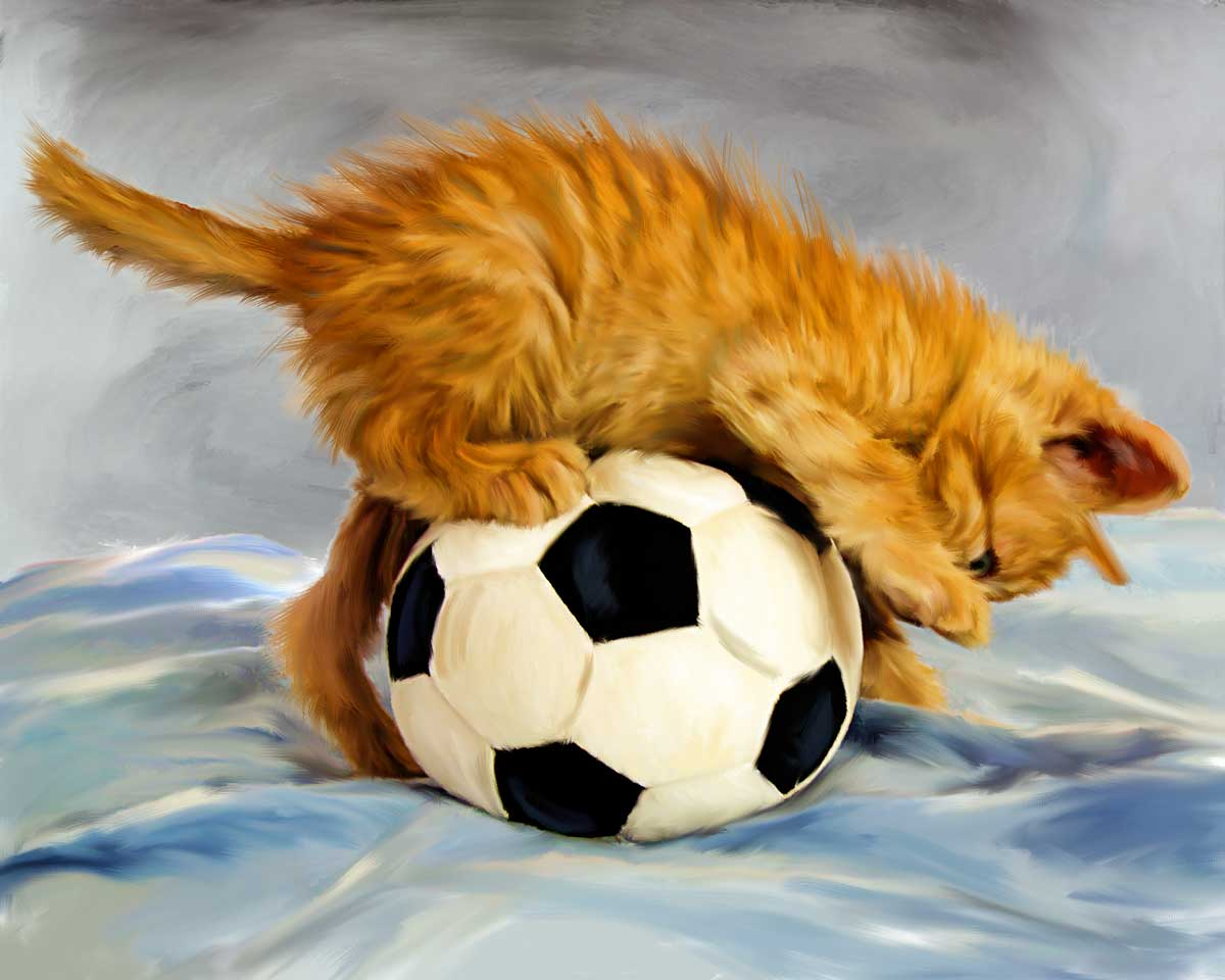 painting cat with ball