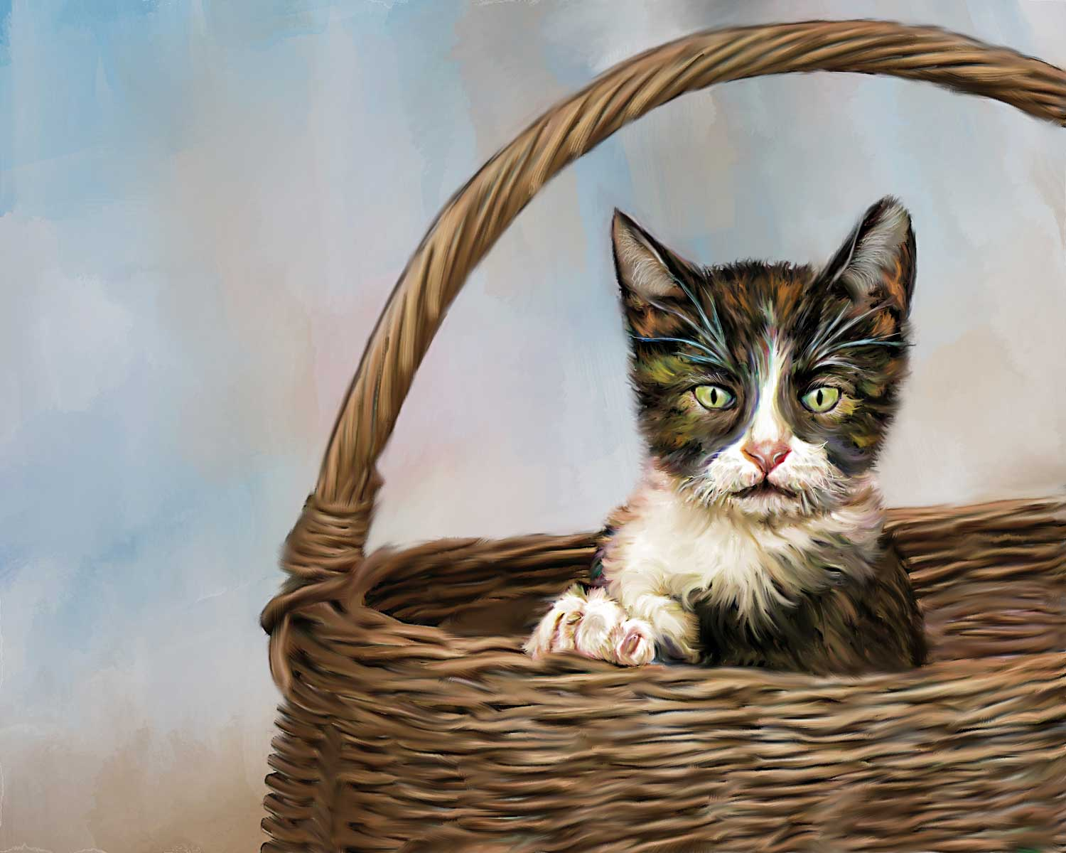 portait cat in basket